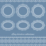 Set of white vintage elegant lacy borders and frames Stock Photography