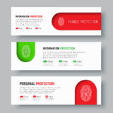 Set of white web banners with fingerprint on red and green. Horizontal templates for protecting information, clouds, emails and bank cards. Vector illustration Royalty Free Stock Photography