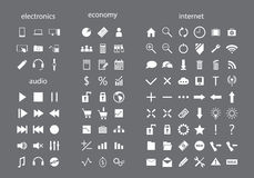 Set of white web icons. Set of icons for your business Royalty Free Stock Photo