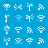 Set of white wifi icons on blue background Stock Photography