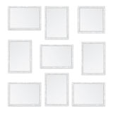 Set of white wooden frames Stock Image