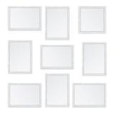 Set of white wooden frames Stock Image