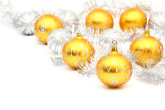 Set of white and yellow christmas balls Stock Photography