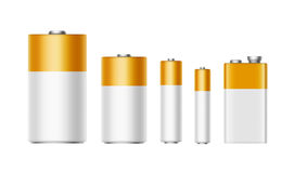 Set of White Yellow Golden Alkaline Batteries Isolated on background. Vector Set of White Yellow Golden Glossy Alkaline Batteries Of Diffrent size AAA, AA, C, D Royalty Free Stock Photos
