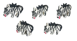 Set of white zebra made from plasticine Royalty Free Stock Photo