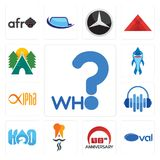 Set of who, oval, 90th anniversary, indian restaurant, h2o, audio visual, alpha, shark mascot, campsite icons. Set Of 13 simple editable icons such as who, oval Royalty Free Stock Photography