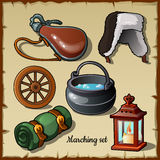 Set for those who wants to become a traveler. Marching items Stock Photography