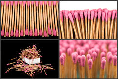 Set of whole and burnt matches at different stages Royalty Free Stock Images