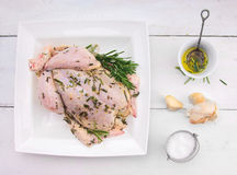 Set of whole chicken with oil, rosemary Stock Photos