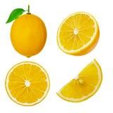 Set of whole and cut lemon fruit isolated on white background Royalty Free Stock Images