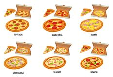 Set whole and slice pizza in open white box. Pepperoni, Hawaiian, Margherita, Mexican, Seafood, Capricciosa. Vector isolated flat Royalty Free Stock Image