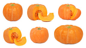 Set whole and sliced pumpkins (isolated) Royalty Free Stock Photos