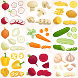Set of  whole and sliced vegetables. Vector illustration. Royalty Free Stock Photo