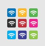 Set Wi-Fi colorful icons. Illustration and graphic image for your logo, icon, and background image Royalty Free Stock Images