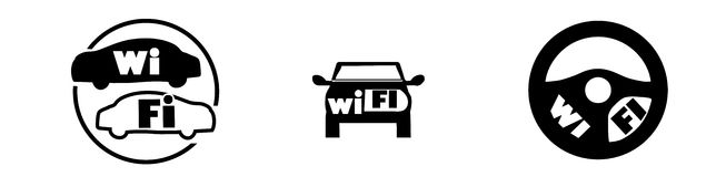 Set of wi fi icons in car Royalty Free Stock Photography