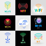 Set Wi-Fi and a logo sticker. Royalty Free Stock Photo