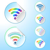 Set of Wi-Fi Network Symbols Round Stickers Stock Images