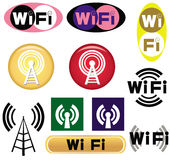 Set of wi-fi symbols. This image represents a set of 11 different wi-fi symbols/logos isolated on a white background royalty free illustration