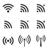 Set Of Wi-Fi And Wireless Icons. WiFi Zone Sign. Remote Access A. Nd Radio Waves Communication Symbols. Vector royalty free illustration