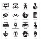 Set of Wi gloves, Kettle, Drone, Keyboard, Tank, Renewable energy, Eye scan, Smart house, Artificial intelligence icons. Set Of 16 simple  icons such as Wi Royalty Free Stock Images