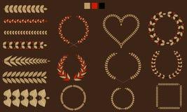 Set wianki, gałąź, liść z płaski tricolor również zwrócić corel ilustracji wektora Zdjęcia Royalty Free