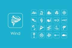 Set wiatrowe proste ikony Zdjęcie Stock