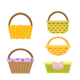 Set of wicker baskets. Vector, illustration in flat style isolated on white background EPS10. Stock Image