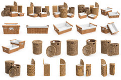Set wicker baskets Royalty Free Stock Photography