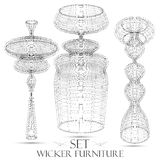 Set of wicker furniture drawings of objects Stock Photo