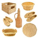 Set of wicker objects. Isolated on white background Royalty Free Stock Photo