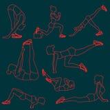 Set ćwiczenie pozy dla kobiet Fotografia Royalty Free