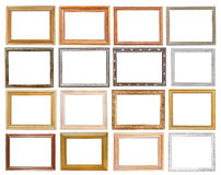 Set of wide picture frames. With cutout canvas isolated on white background stock photography