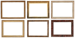Set of wide retrot wooden picture frames Stock Images