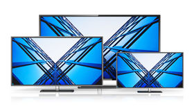 Set of widescreen TV displays. Creative abstract television electronics technology business concept: set of modern widescreen TV display screens or computer PC stock illustration