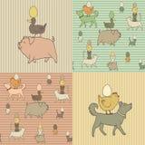 Set 4 Wielkanocna bezszwowa tekstura z zwierzętami gospodarskimi Fotografia Stock