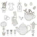 Set Wielkanocni Doodles Zdjęcia Royalty Free