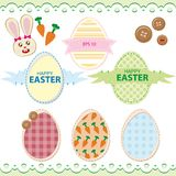 Set Wielkanocni jajka z Wielkanocnym królikiem Obrazy Royalty Free