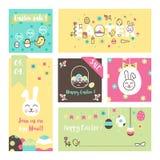 Set 6 Wielkanocnych kartka z pozdrowieniami i sprzedaży sztandarów Obraz Royalty Free