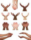 Set wieloetniczne ręki trzyma coś lub oferuje Obrazy Royalty Free