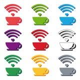 Set WiFi Cafe Internet cafe poster design, vector illustration Stock Photo