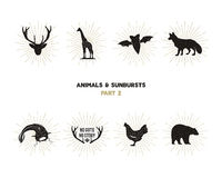 Set of wild animal figures and shapes with sunbursts isolated on white background. Black silhouettes giraffe, chicken. Fox, deer, catfish and bat . Use as Royalty Free Stock Image