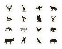 Set of wild animal figures and shapes with sunbursts isolated on white background. Black silhouettes wolf, deer, moose Stock Image