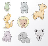 Set of wild animals. Set of colored cartoon wild animals Stock Image