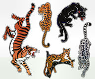 Set of wild Cat flash tattoo patches or elements. Stock Photo