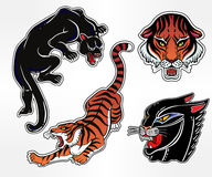 Set of wild Cat flash tattoo patches or elements. Set of wild Cat designs. Classic flash tattoo style patches or elements. Traditional stickers, comic pins. Pop Royalty Free Stock Photography