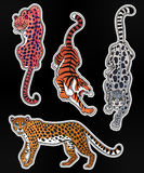 Set of wild Cat flash tattoo patches or elements. Set of wild Cat designs. Classic flash tattoo style patches or elements. Traditional stickers, comic pins. Pop Royalty Free Stock Photos