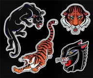 Set of wild Cat flash tattoo patches or elements. Royalty Free Stock Images