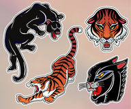 Set of wild Cat flash tattoo patches or elements. Set of wild Cat designs. Classic flash tattoo style patches or elements. Traditional stickers, comic pins. Pop Stock Image