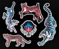 Set of wild Cat flash tattoo patches or elements. Set of Neon pop wild Cat designs. Flash tattoo style patches or elements. Traditional stickers, comic pins Royalty Free Stock Photography