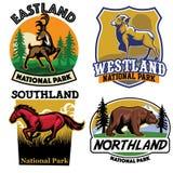 Set of Wild life badge collection Stock Photos